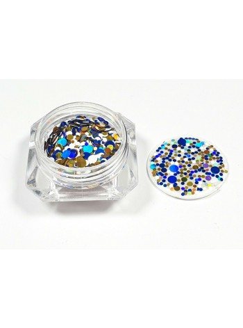 Mixed blue/gold/white * Ultrathin Nail Art Sequins