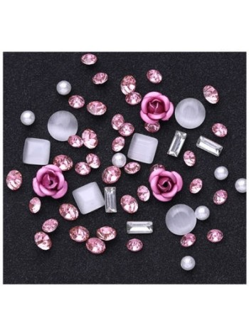 Nail Art Jewelry Gems Rose & White