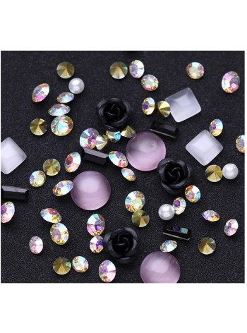 Nail Art Jewelry Gems Rose & Rhinestones