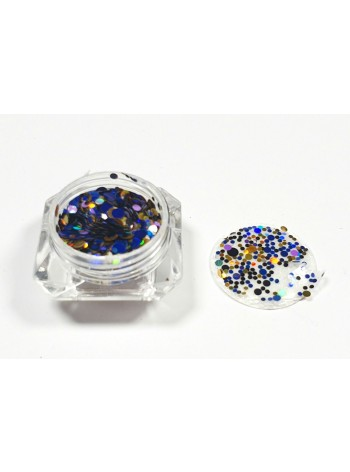 Mixed blue/gold/black * Ultrathin Nail Art Sequins