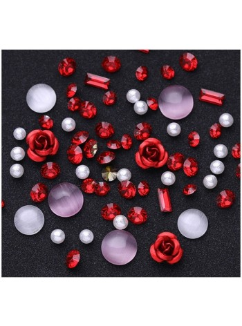 Nail Art Jewelry Gems Rose & Red